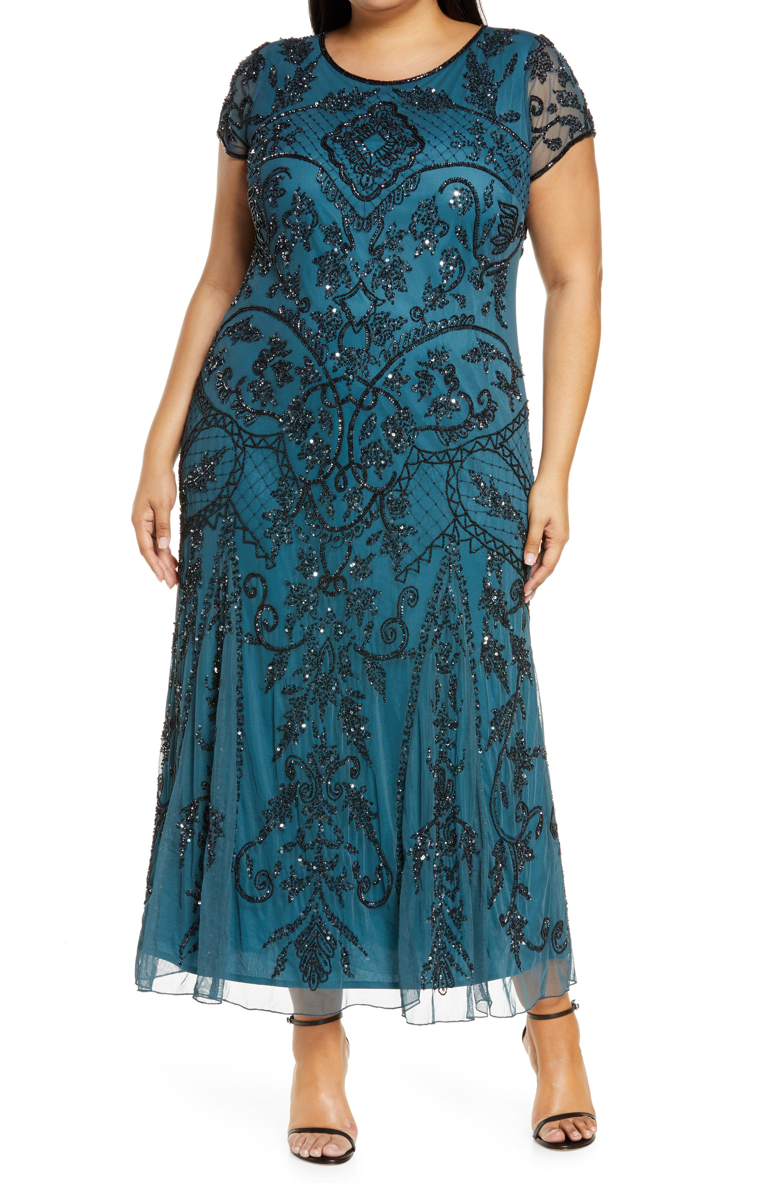 Great Gatsby Dress – Great Gatsby Dresses for Sale Plus Size Womens Pisarro Nights Beaded Short Sleeve Column Gown Size 24W - Green $258.00 AT vintagedancer.com