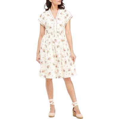 Gal Meets Glam Collection Smocked Waist Floral Print Dress, Ivory