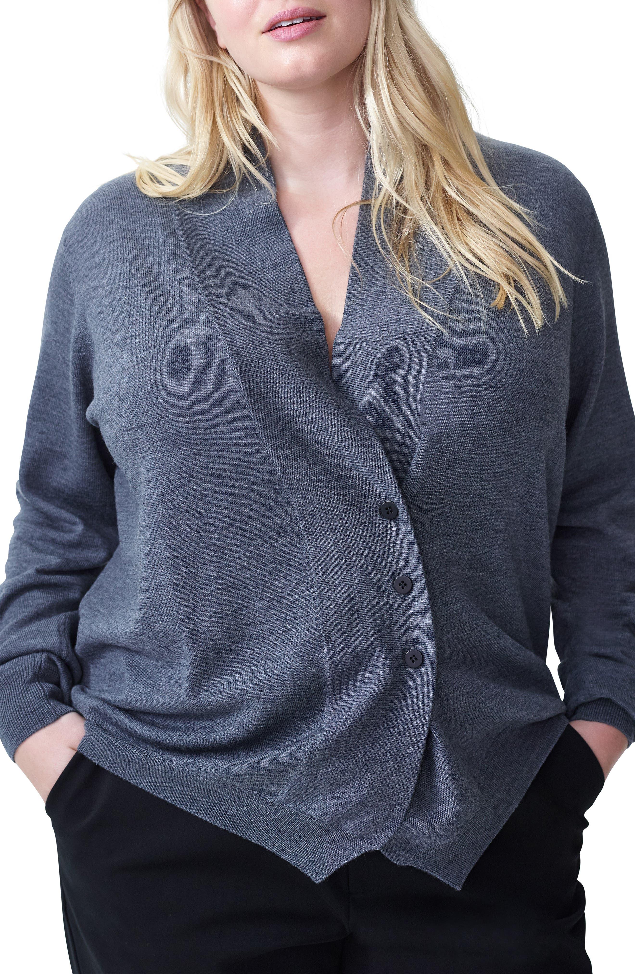 Plus Size Universal Standard Curved Merino Wool Cardigan, Grey