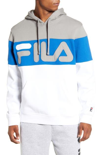 Fila Flamino Logo Hooded Sweatshirt In Frost Gray/ Blue/ White