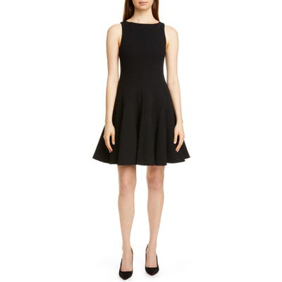 Emporio Armani Wool Crepe Fit & Flare Dress, US / 46 IT - Black