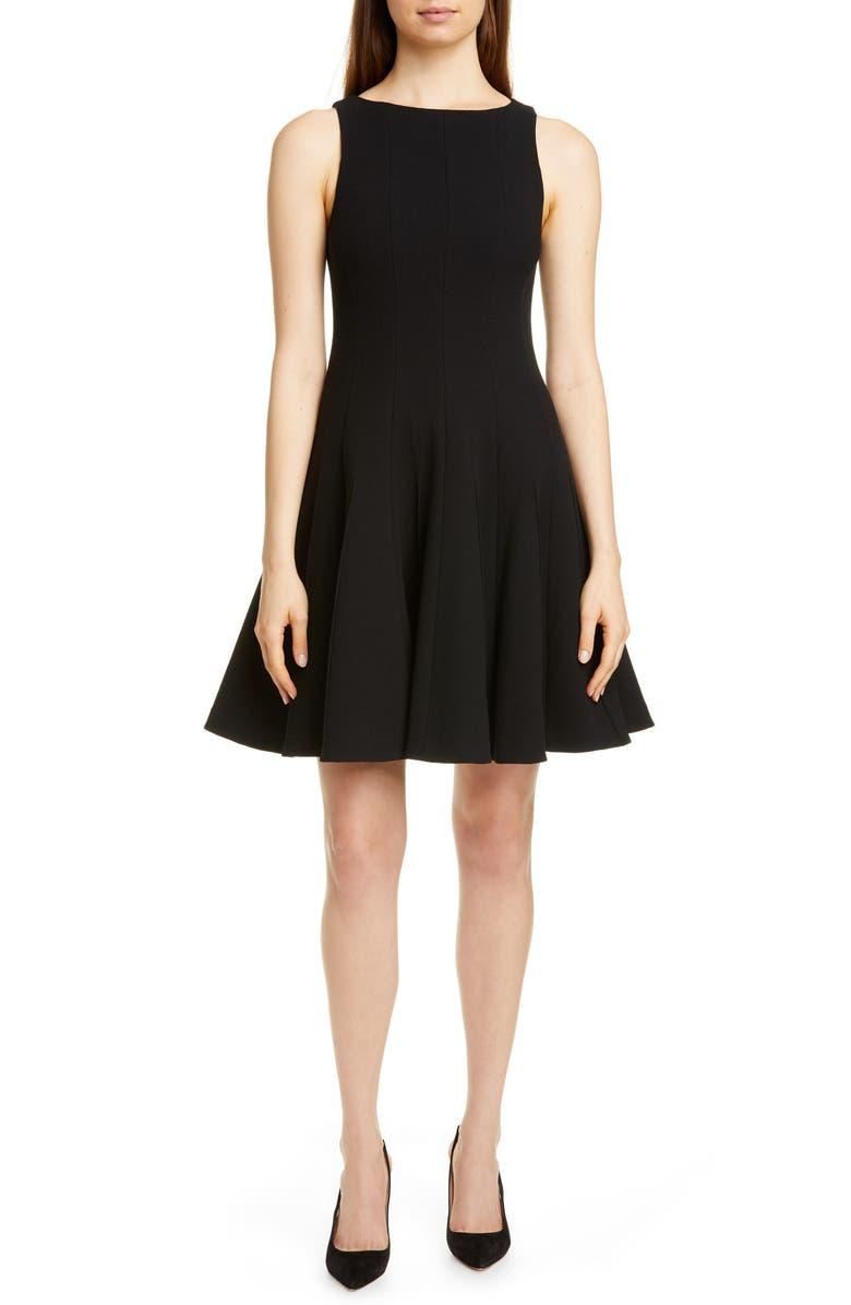 EMPORIO ARMANI Wool Crepe Fit & Flare Dress, Main, color, 001