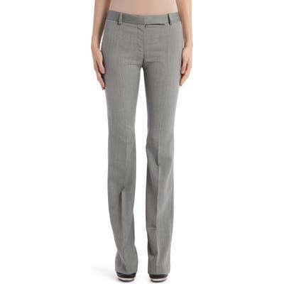 Alexander Mcqueen Herringbone Wool Flare Pants, US / 40 IT - Black