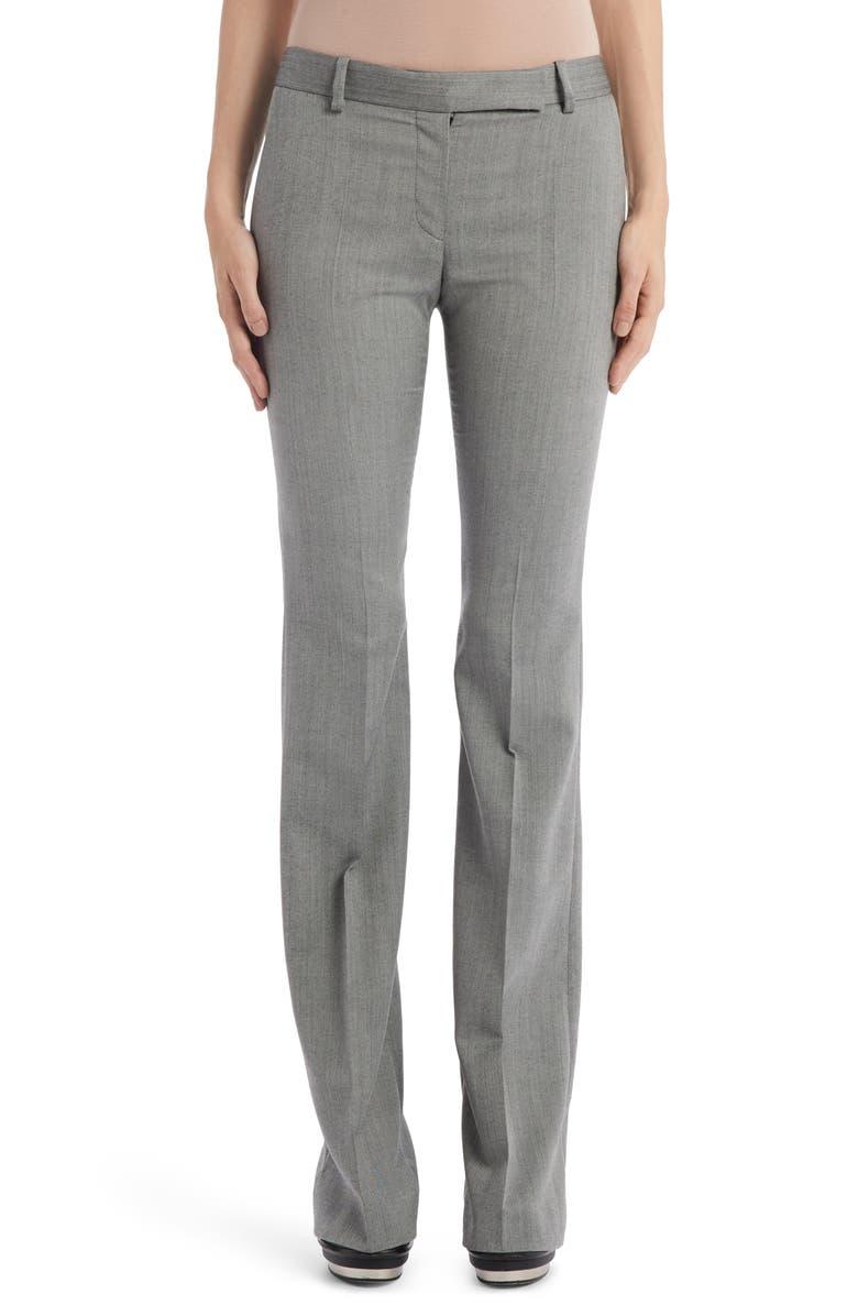 ALEXANDER MCQUEEN Herringbone Wool Flare Pants, Main, color, BLACK/ IVORY