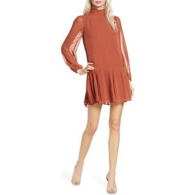 Ali & Jay Wink And A Shimmy Long Sleeve Pleated Chiffon Dress, Orange