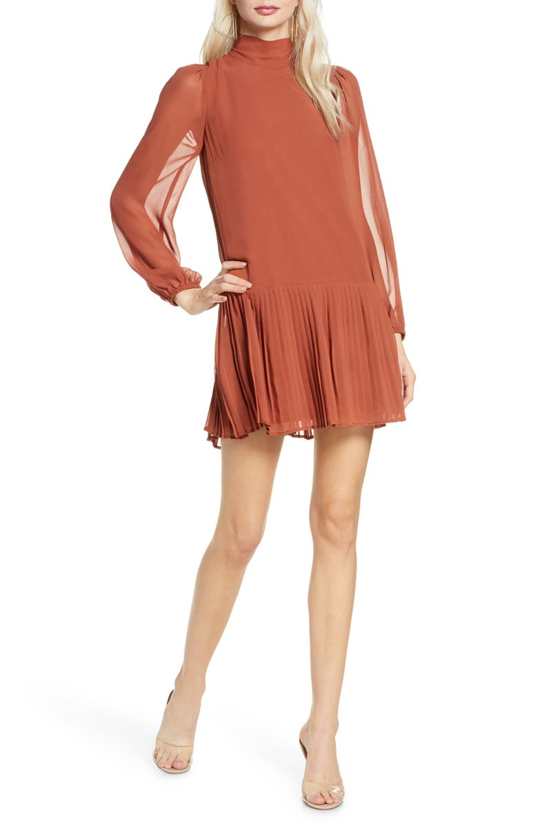 ALI & JAY Wink and a Shimmy Long Sleeve Pleated Chiffon Dress, Main, color, COPPER