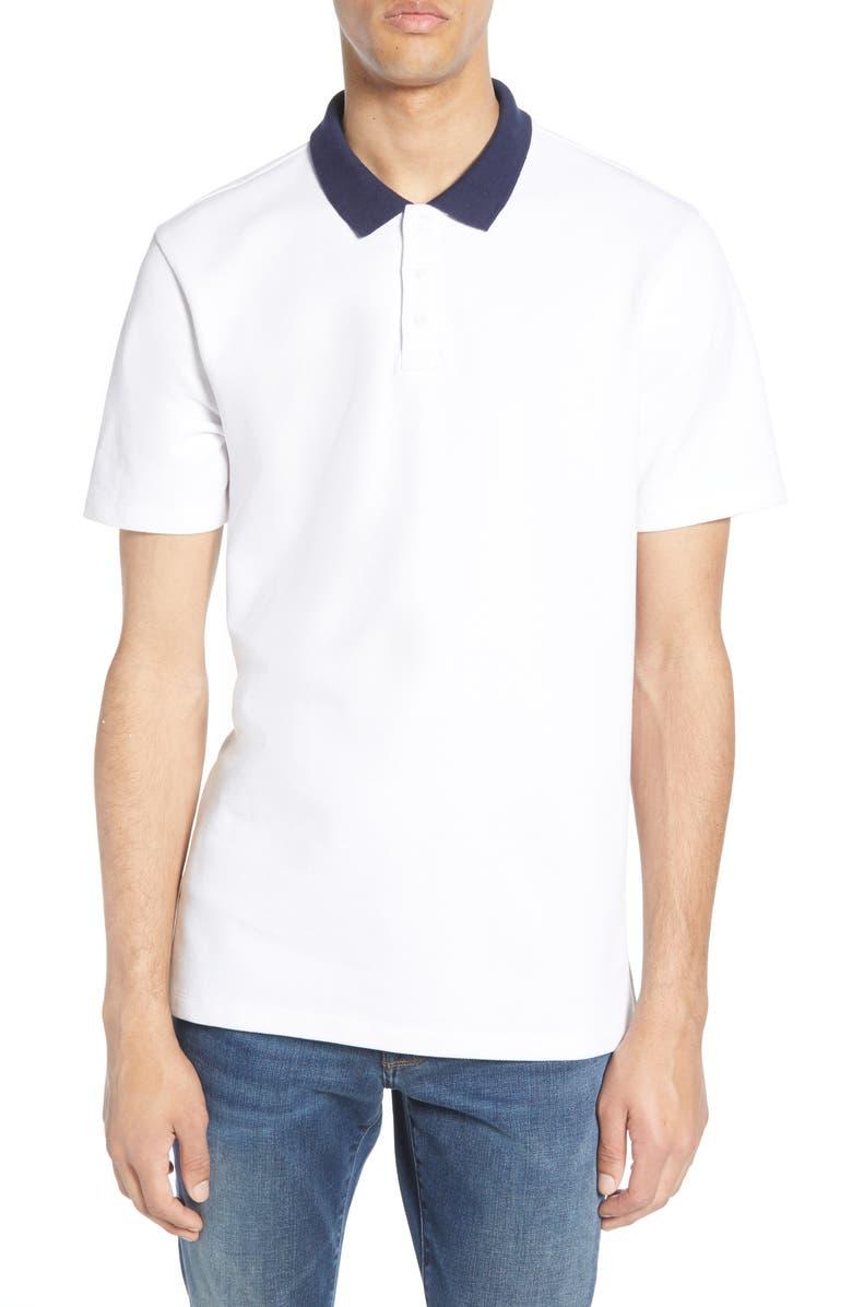 BP. Contrast Collar Piqué Polo, Main, color, WHITE - NAVY