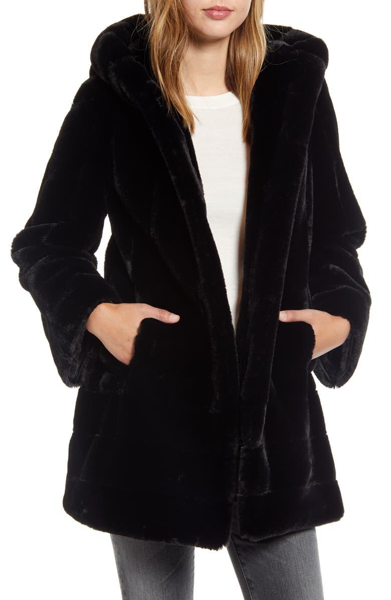 GALLERY Faux Fur Swing Coat, Main, color, BLACK