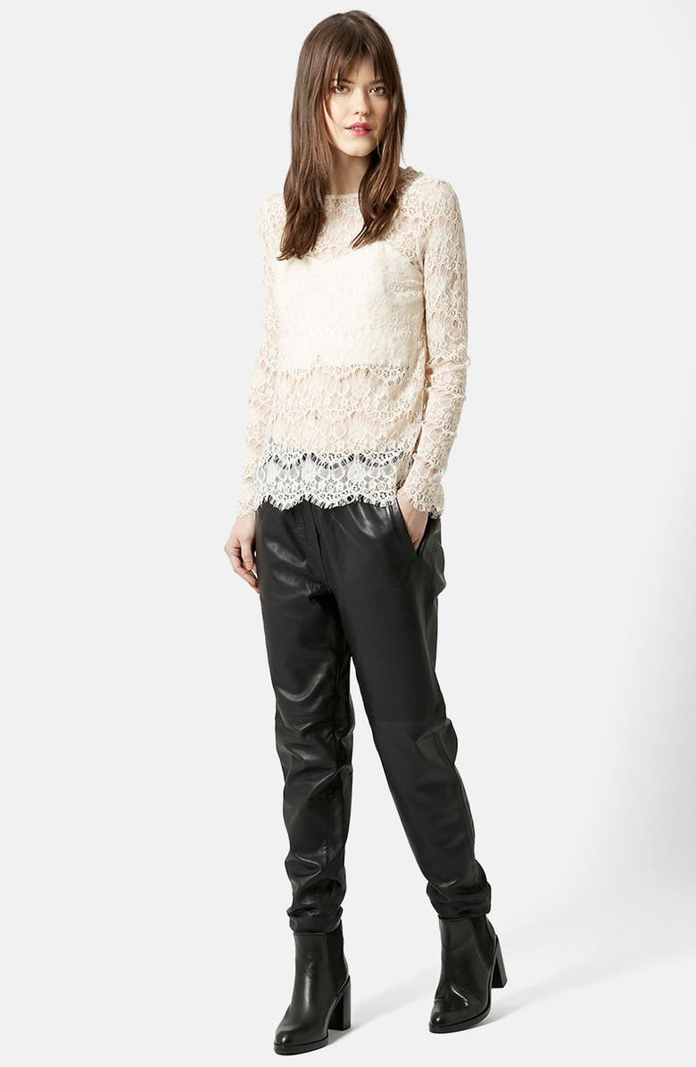 TOPSHOP Long Sleeve Lace Top, Main, color, 900