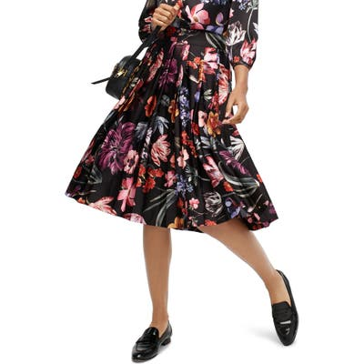 J.crew Midnight Dutch Floral Pleated A-Line Midi Skirt, (similar to 1) - Black