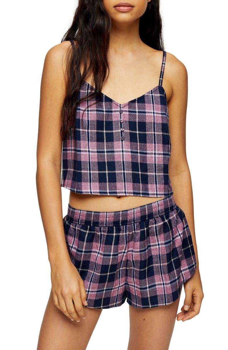 TOPSHOP Check Cami and Shorts Pajamas, Main, color, 411