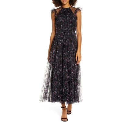 Jill Jill Stuart Printed Tulle Ruffle Gown, Black