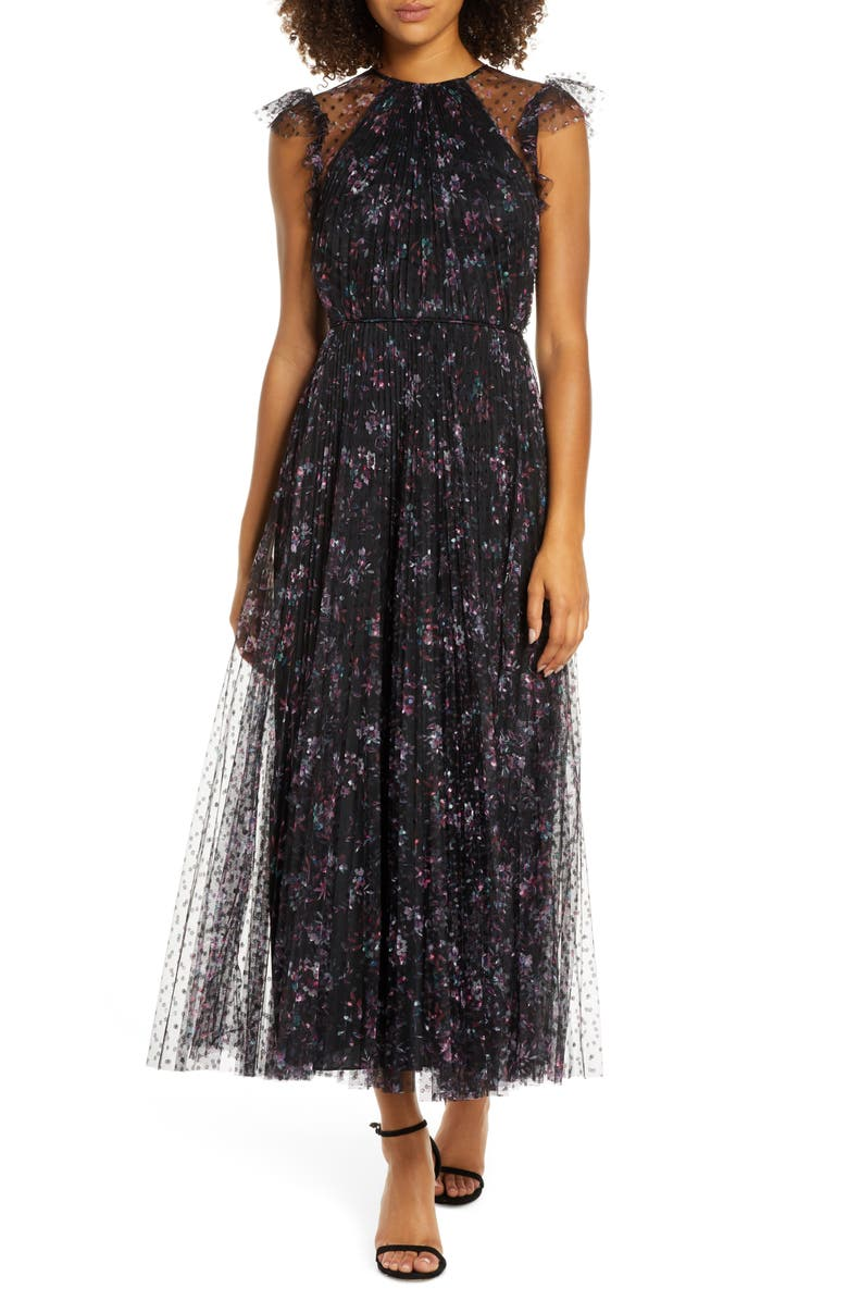 JILL JILL STUART Printed Tulle Ruffle Gown, Main, color, BLACK MULTI