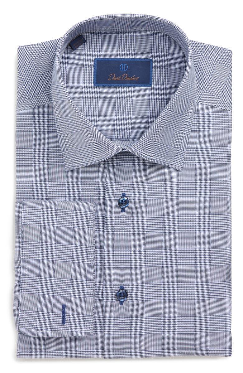 DAVID DONAHUE Regular Fit Plaid Dress Shirt, Main, color, NAVY