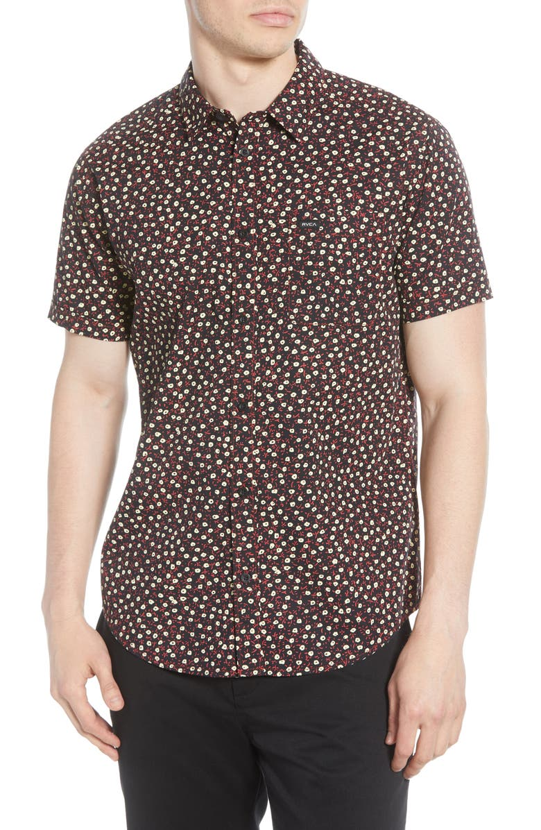 RVCA Micro Floral Short Sleeve Button-Up Shirt, Main, color, BLACK