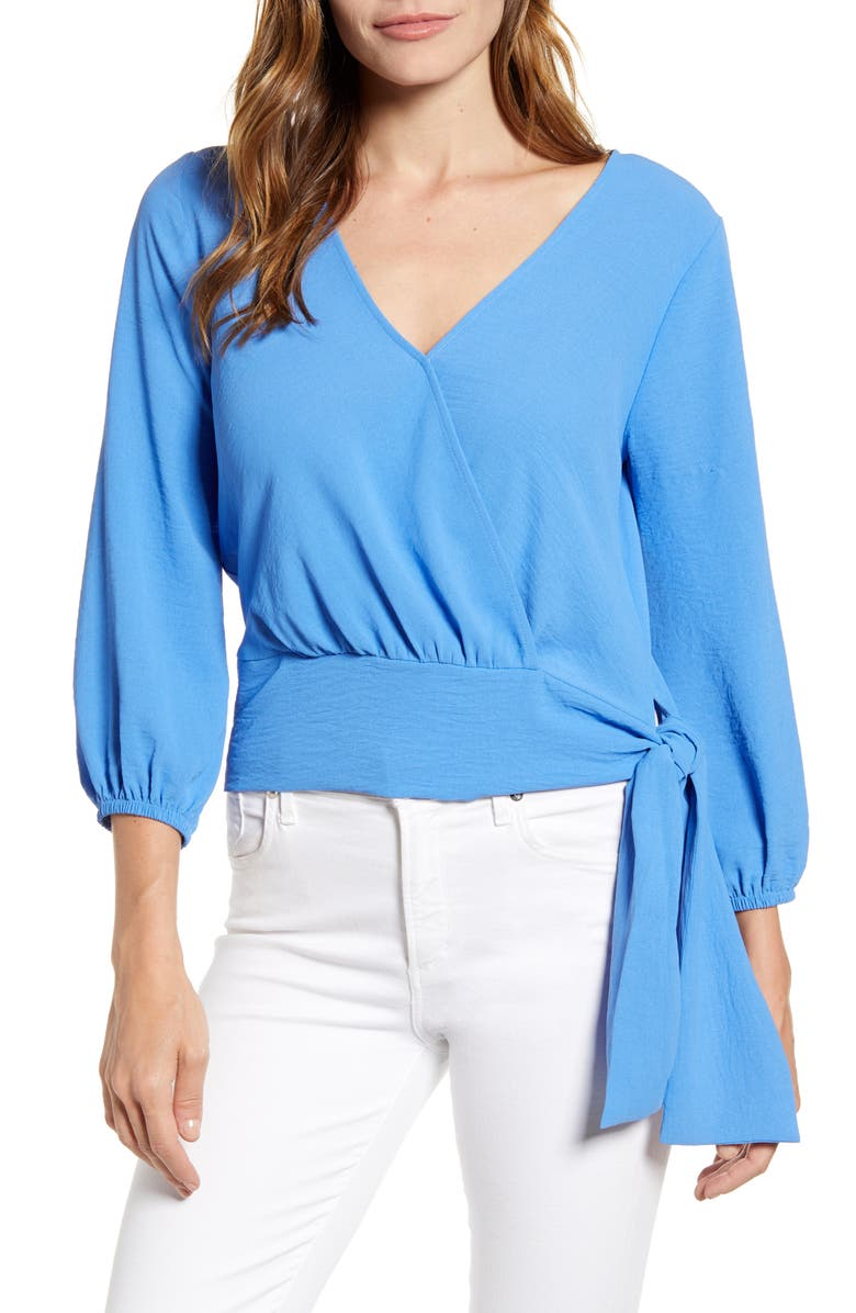GIBSON x Hot Summer Nights Almost Ready Tie Waist Wrap Top, Main, color, CORN FLOWER