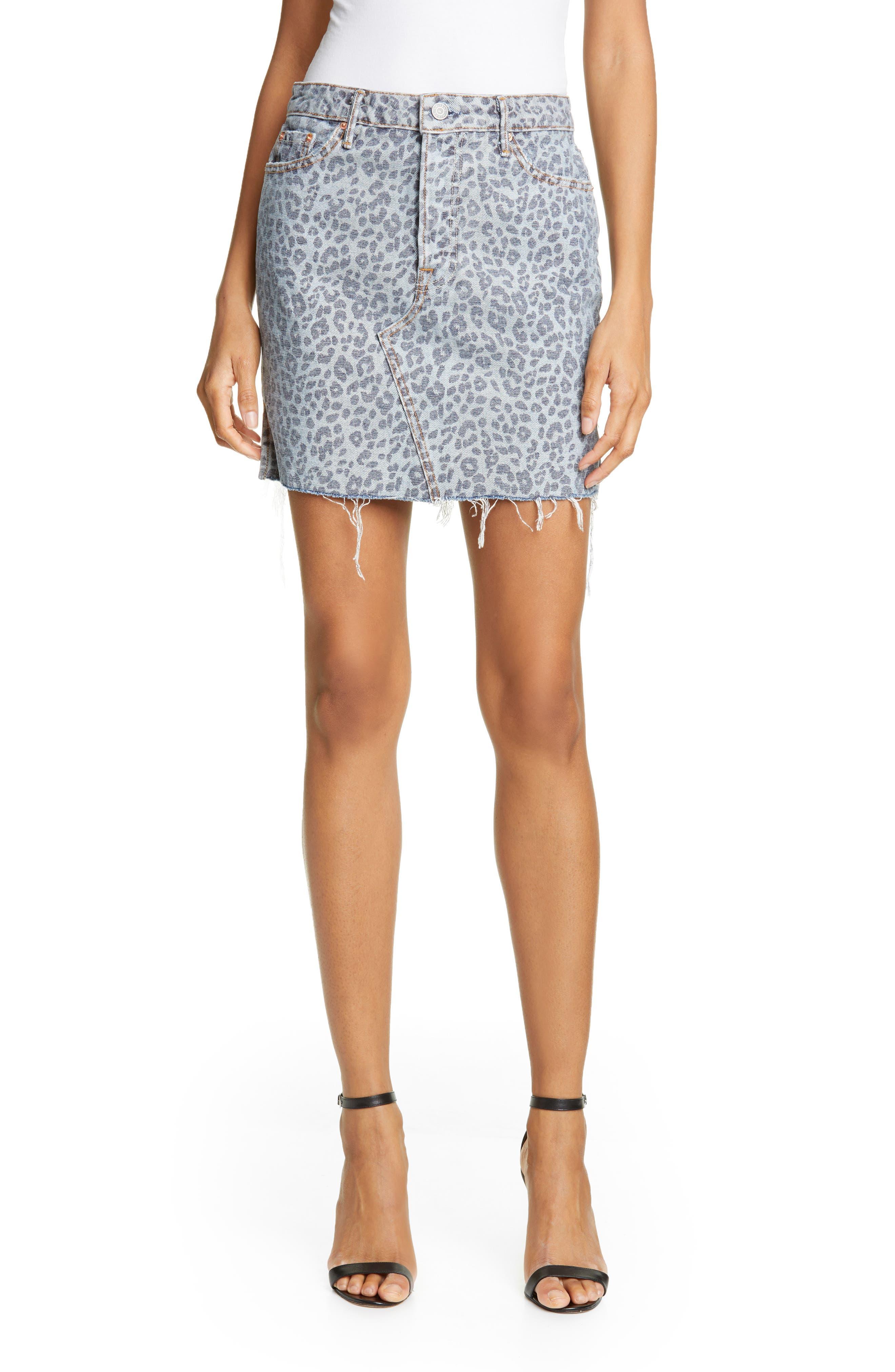Grlfrnd Skirts Blaire Leopard Print Denim Skirt