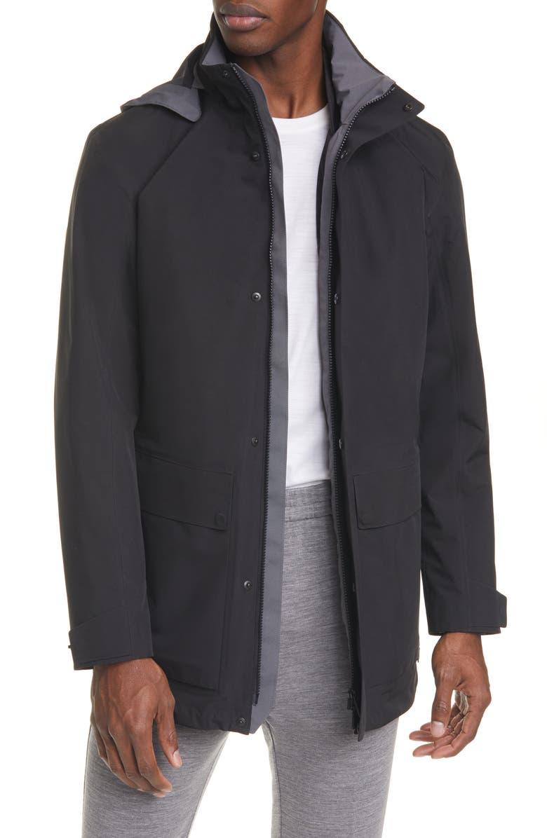 Z ZEGNA Trim Fit 3-in-1 Raincoat, Main, color, 001