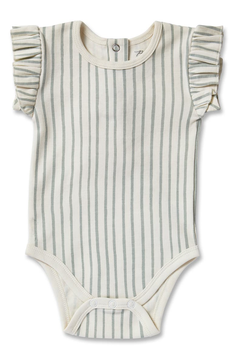 PEHR Stripes Away Ruffle Bodysuit, Main, color, SEA
