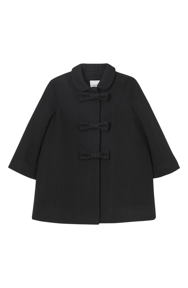 BURBERRY Jayda Bow Wool Coat, Main, color, BLACK