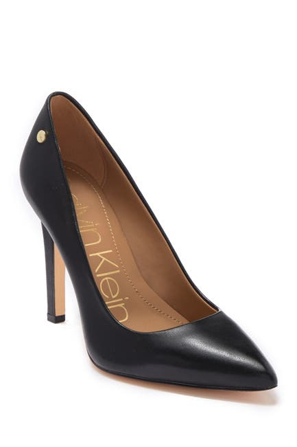 Image of Calvin Klein Brady Leather Pointed Toe Pump - Wide Width Available