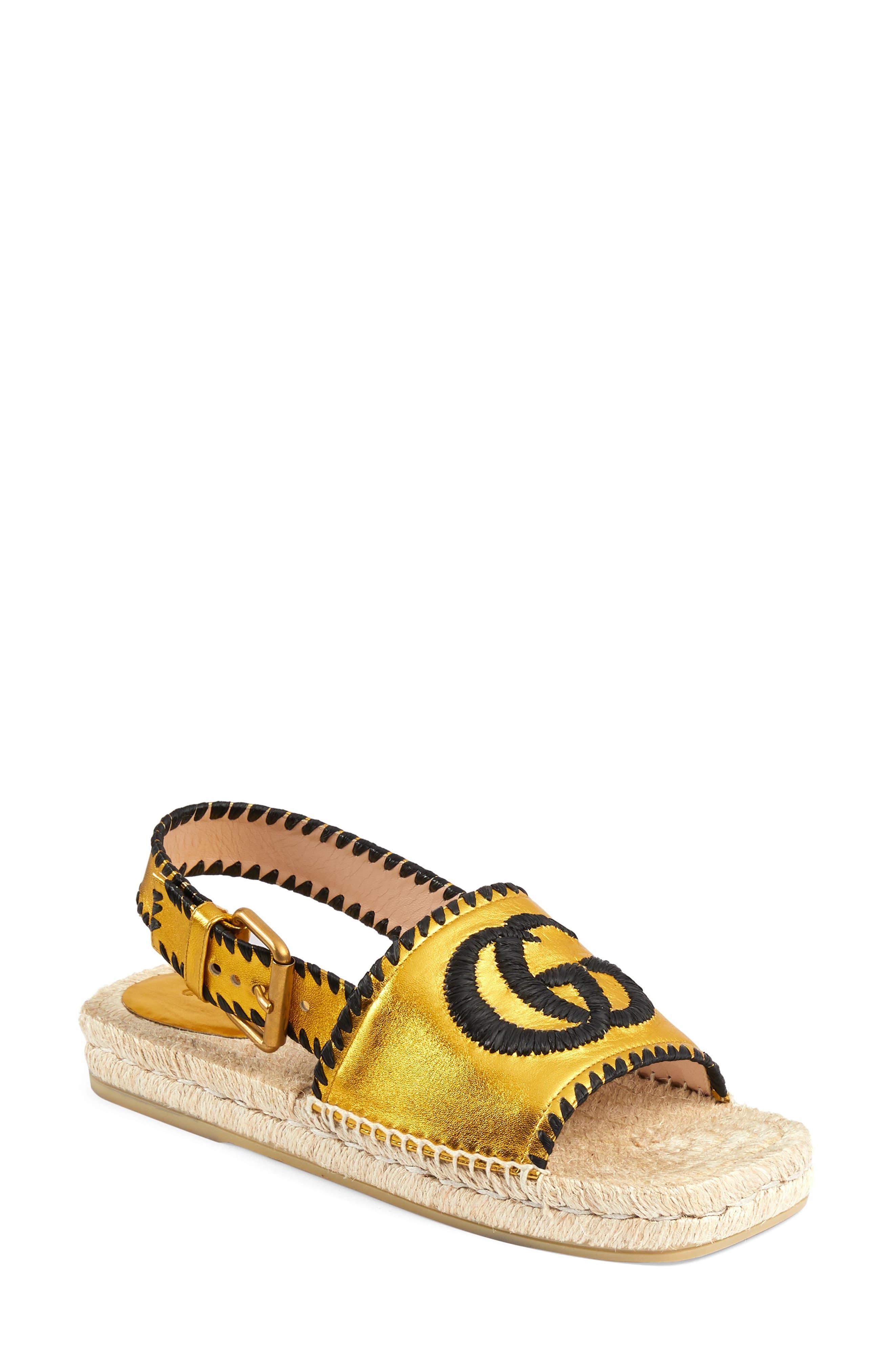 Gucci Pilar Embroidered Double G Logo Slingback Espadrille Sandal (Women)