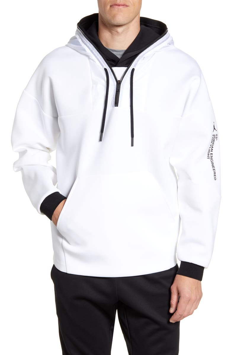 JORDAN 23 Engineered Half Zip Hoodie, Main, color, WHITE/ WHITE/ BLACK/ WHITE