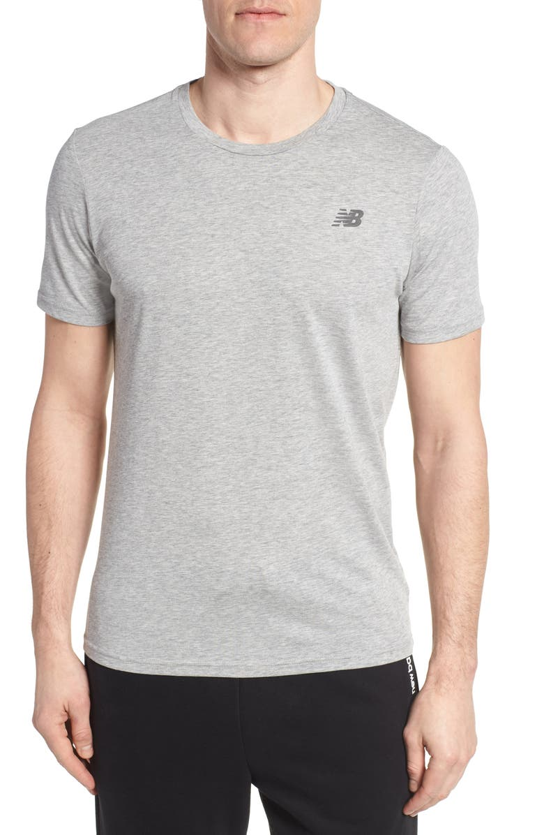 NEW BALANCE Heather Tech Crewneck T-Shirt, Main, color, ATHLETIC GREY