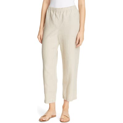 Petite Eileen Fisher Cropped Linen Pants, Ivory