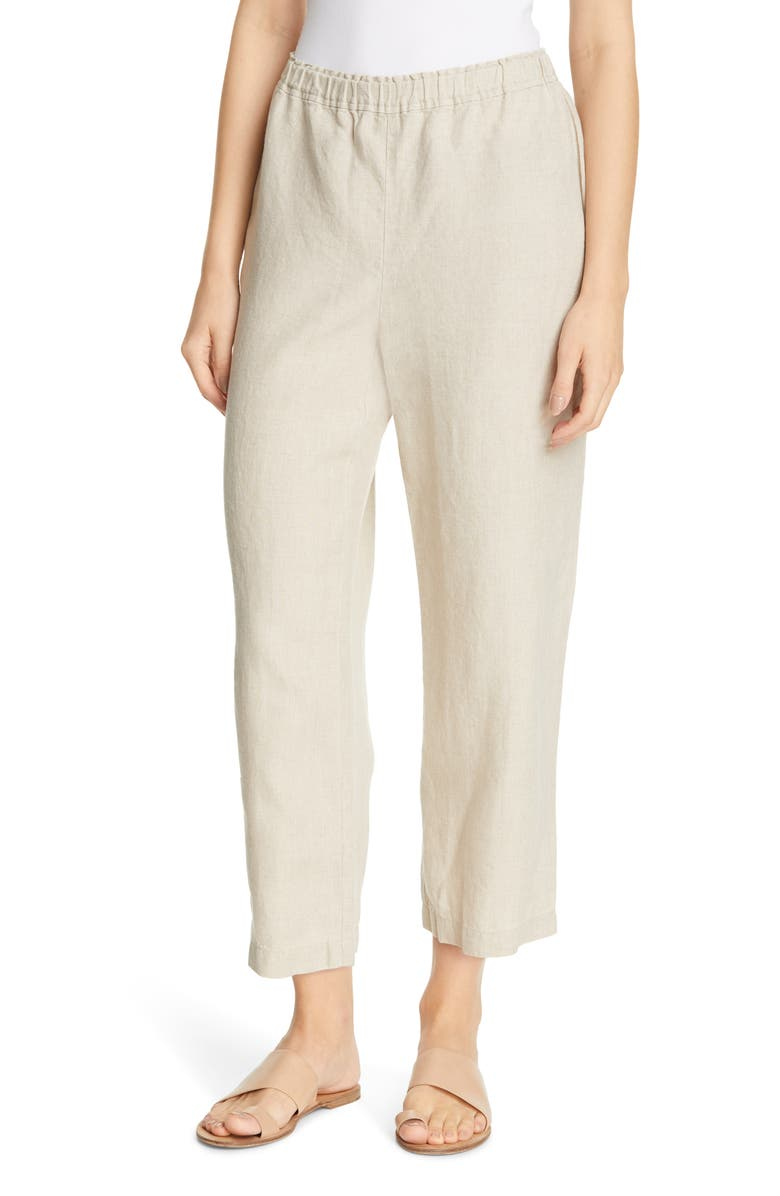 EILEEN FISHER Cropped Linen Pants, Main, color, UNDYED NATURAL