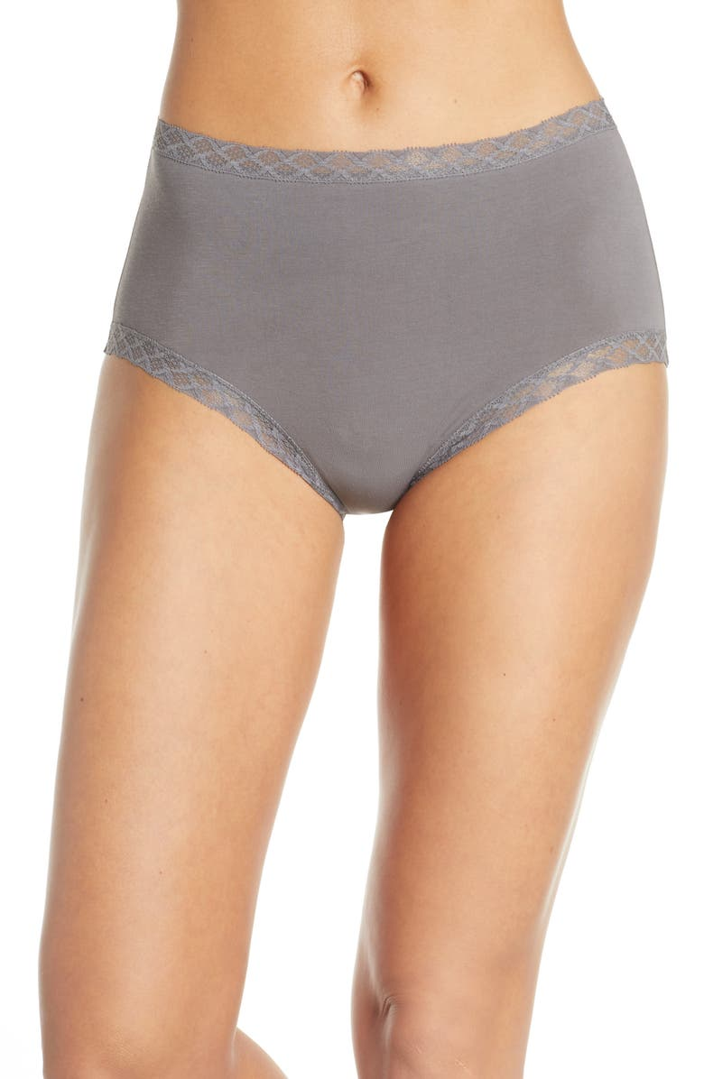 NATORI Bliss Cotton Full Brief, Main, color, BASALT