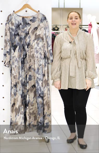 Drape Silk Long Sleeve Maxi Dress, sales video thumbnail