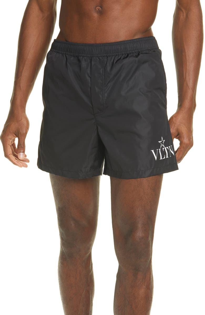 VALENTINO VLTNSTAR Swim Trunks, Main, color, BLACK/ WHITE