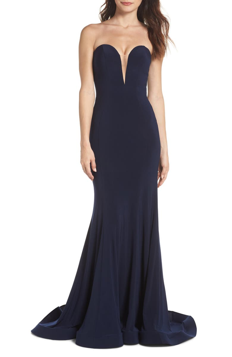 IEENA FOR MAC DUGGAL Mac Duggal Bustier Trumpet Gown, Main, color, NAVY
