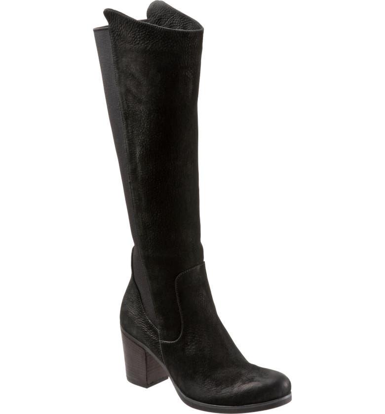 BUENO Walt Knee High Boot, Main, color, BLACK NUBUCK