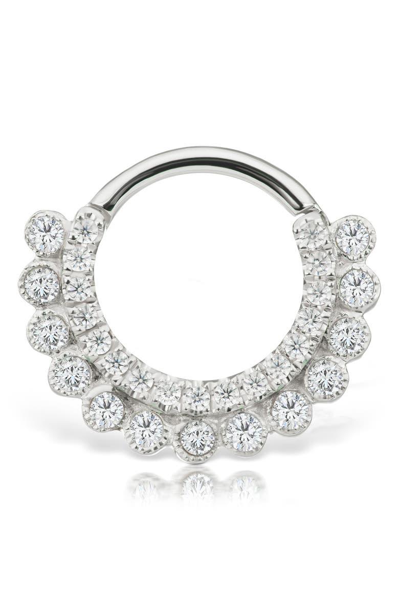 MARIA TASH 16-Gauge Diamond Apsara Clicker Earring, Main, color, WHITE GOLD/ DIAMOND
