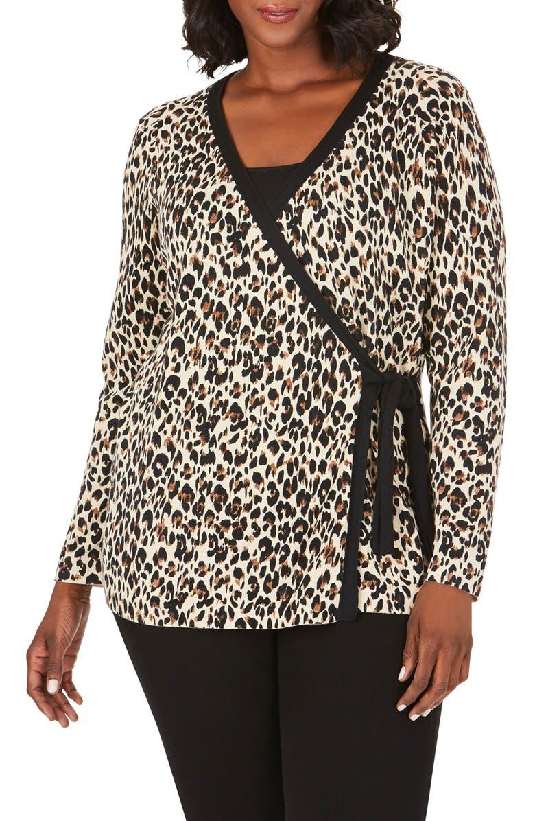 FOXCROFT London Evening Leopard Wrap Cardigan, Main, color, MULTI