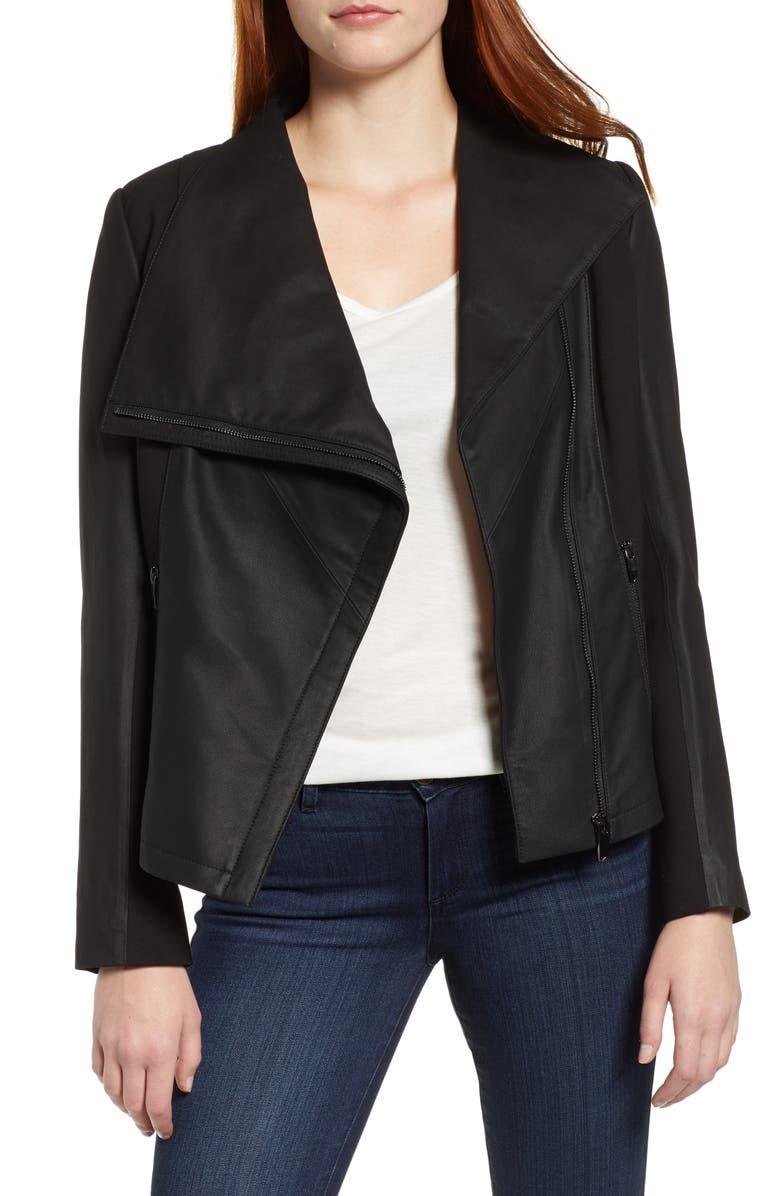 VIA SPIGA Asymmetrical Leather & Textile Jacket, Main, color, 001