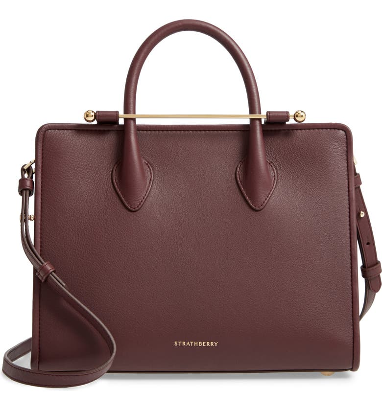 STRATHBERRY Midi Convertible Tote, Main, color, BURGUNDY