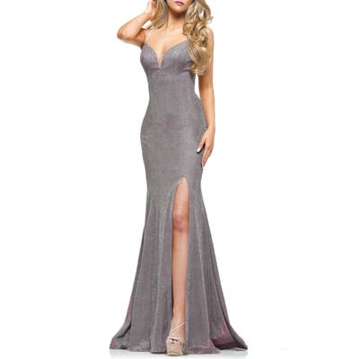 Colors Dress Glitter Mermaid Gown, Pink