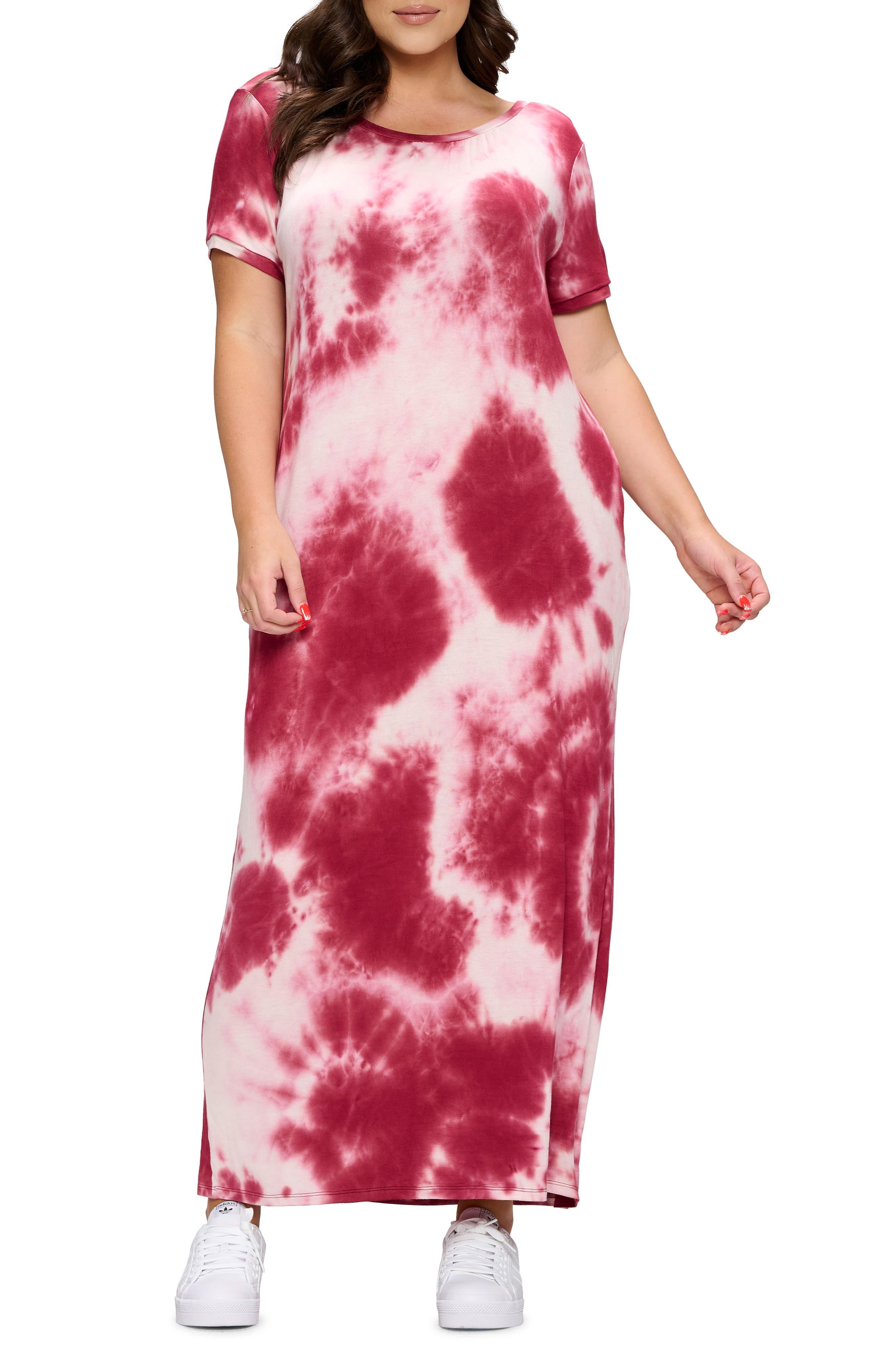 Ruched Tie Dye T-Shirt Dress