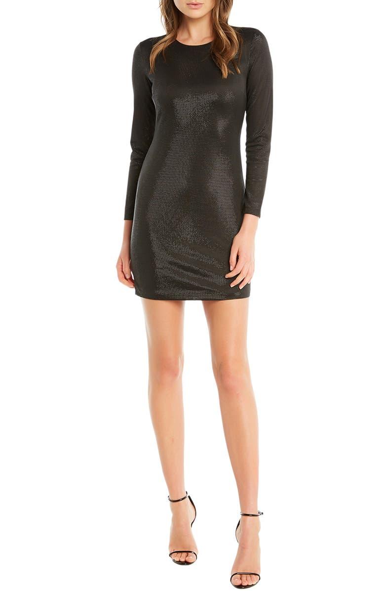 BARDOT Bartdot Open Back Metallic Long Sleeve Minidress, Main, color, 001