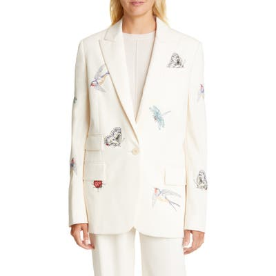 Stella Mccartney Bug & Bird Embroidered Blazer, 6 IT - Ivory