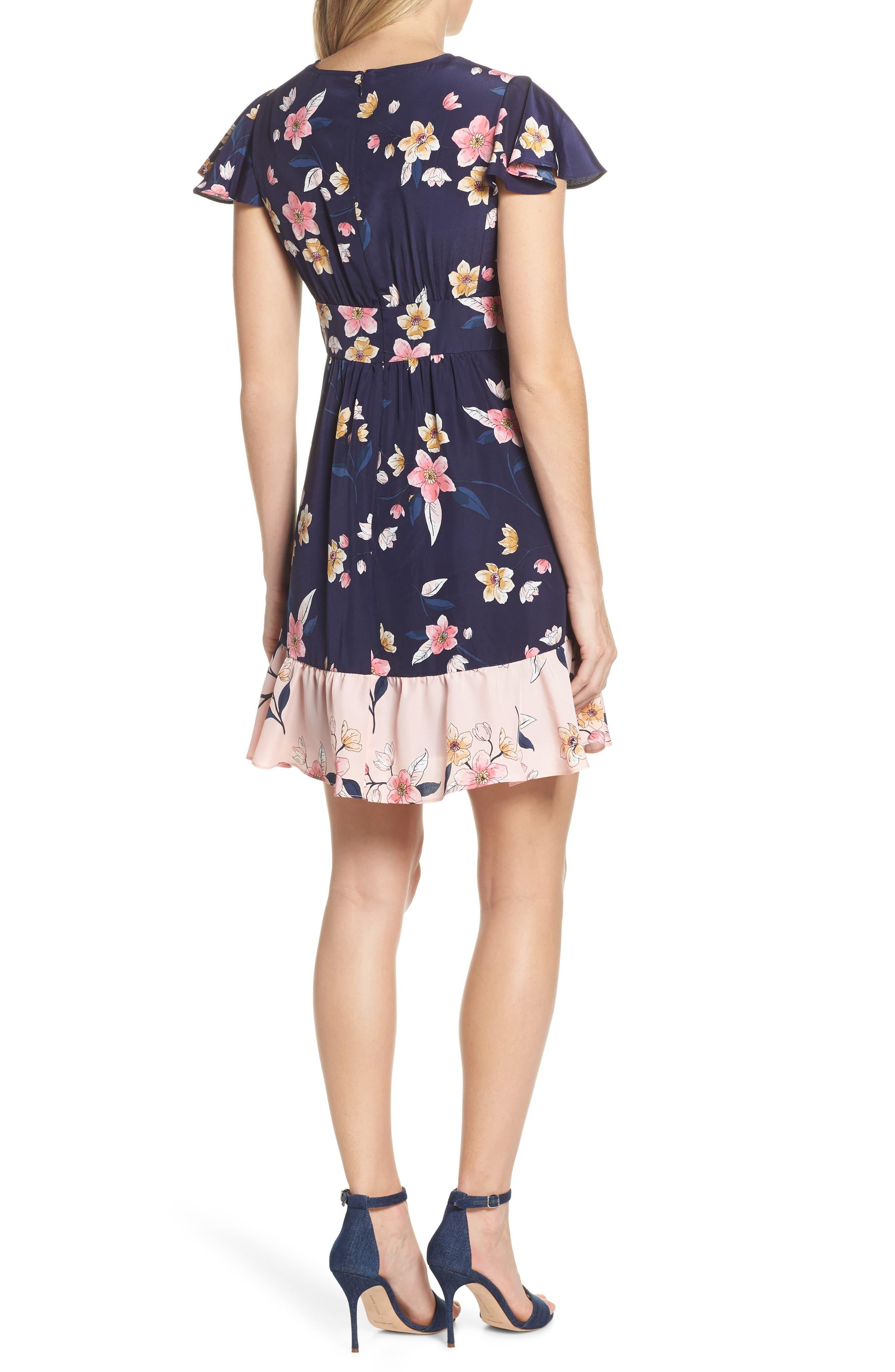 ,                             Ruffle Faux Wrap Dress,                             Alternate thumbnail 2, color,                             NAVY/ MULTI