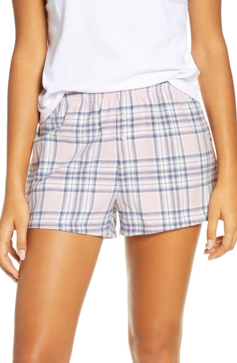 BP. Flannel Boxer Shorts, Main, color, PURPLE KEEPSAKE LILY PLAID
