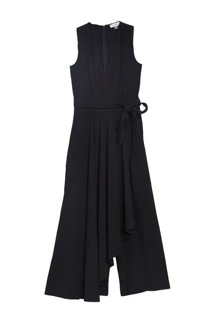 Image of Calvin Klein Sleeveless Belted Wide Leg Jumpsuit