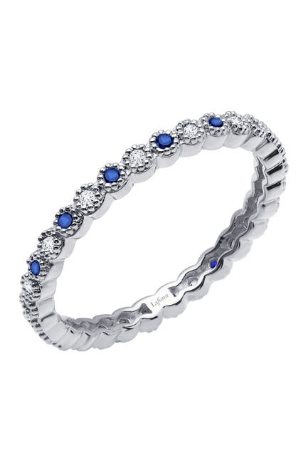 Image of LaFonn Platinum Plated Sterling Silver Bezel Set Simulated Diamond & Simulated Blue Sapphire Scalloped Eternity Band