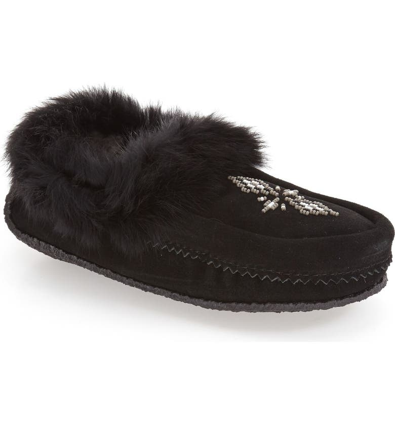 MANITOBAH MUKLUKS Genuine Shearling and Rabbit Fur Mukluk Slipper, Main, color, 001