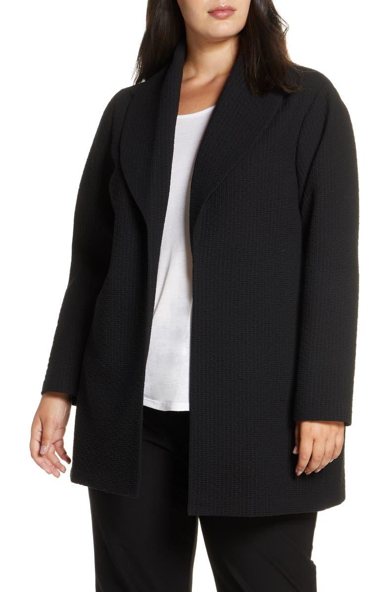 EILEEN FISHER Shawl Collar Jacket, Main, color, BLACK
