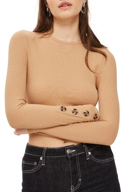 Image of TOPSHOP Button Cuff Crop Top